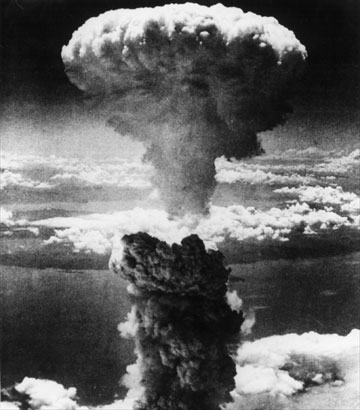 The atomic bomb mushroom cloud over Nagasaki