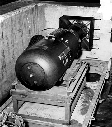 The Little Boy bomb in the bomb pit, ready for loading into the Enola ...